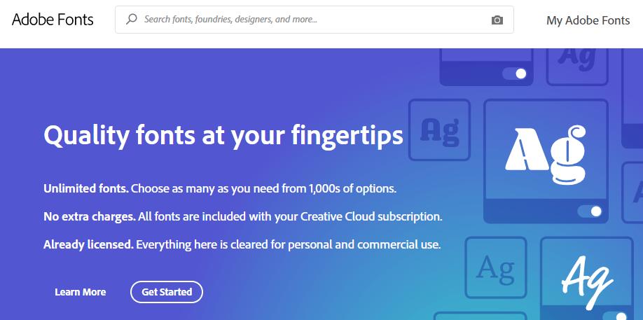 صفحة Adobe Fonts الرئيسية.