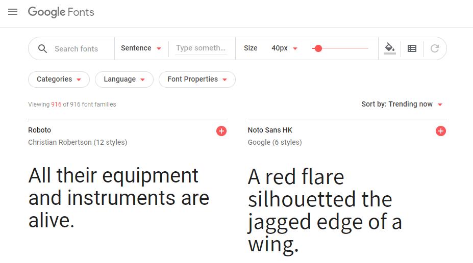 الصفحة الرئيسية لخطوط Google.