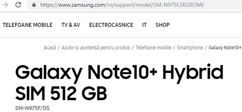 أكد سامسونج بطريق الخطأ Galaxy Note  10+ 1