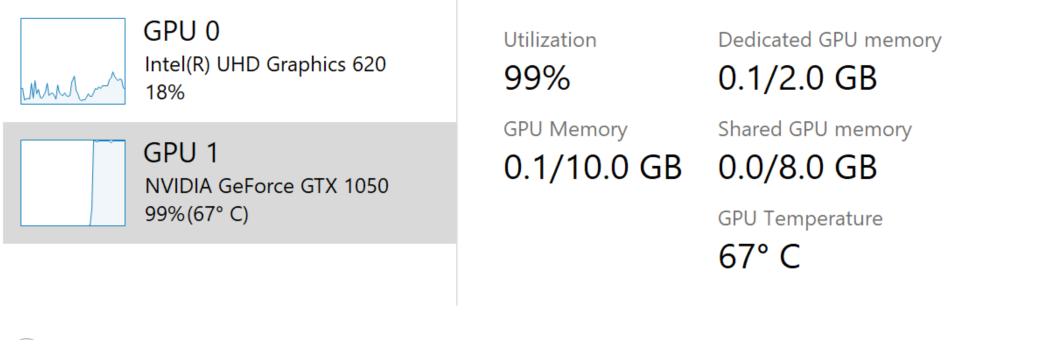 تظهر درجة حرارة GPU في إدارة المهام.