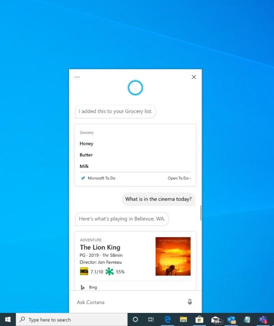 إصدارات مايكروسوفت Windows 10 قم ببناء 18945 إلى الحلبة السريعة باستخدام تطبيق Cortana الجديد 1