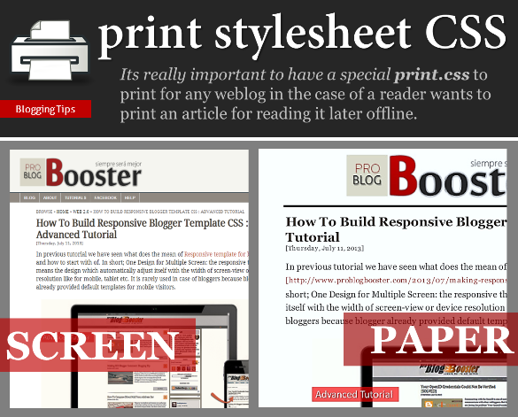 طباعة الأنماط CSS خدعة للمدون - Problogbooster