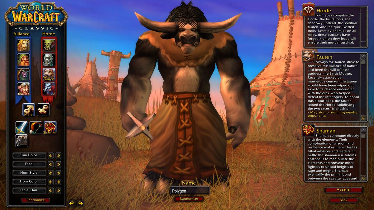 صورة شاشة إنشاء شخصيات World of Warcraft Classic