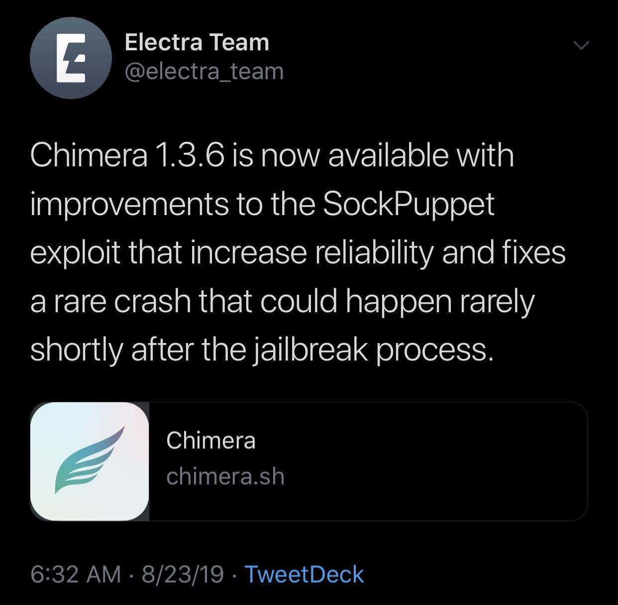 تم إصدار Chimera v1.3.6 مع تحسينات موثوقية Sock Puppet وإصلاح الأعطال 2