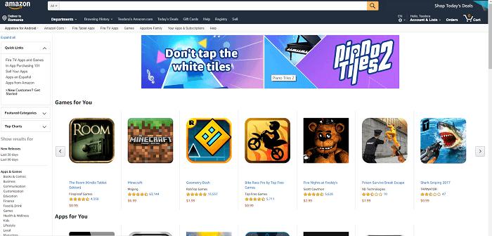Amazon  صفحة ويب متجر التطبيقات