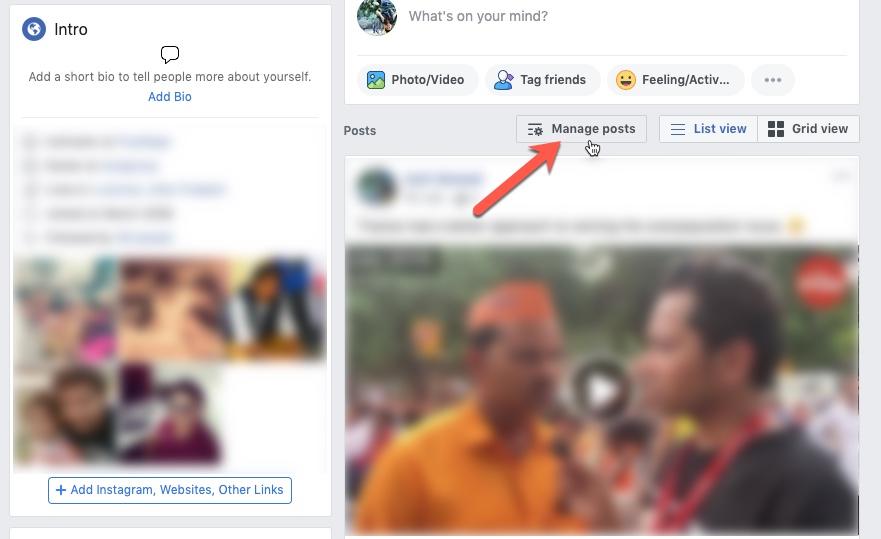 كيفية حذف الشامل Facebook المشاركات في آن واحد 1