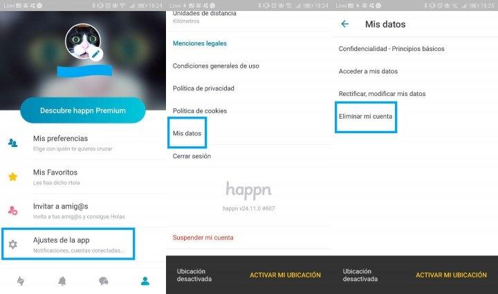 صورة - كيفية حذف حساب Happn