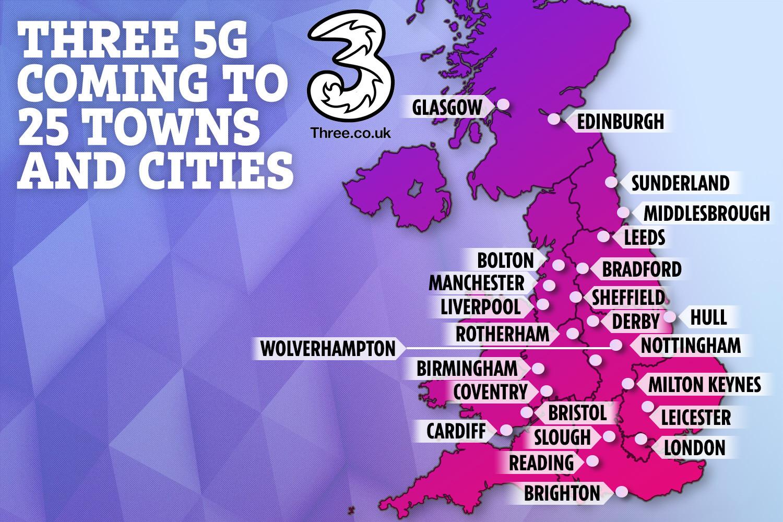 ستأتي ثلاث طائرات 5G إلى 25 مدينة وبلدة في المملكة المتحدة في وقت لاحق من هذا العام