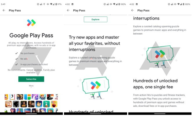 جوجل تختبر لعبة Play Pass. يقدم تطبيقات وألعاب مميزة بدون إعلانات 1