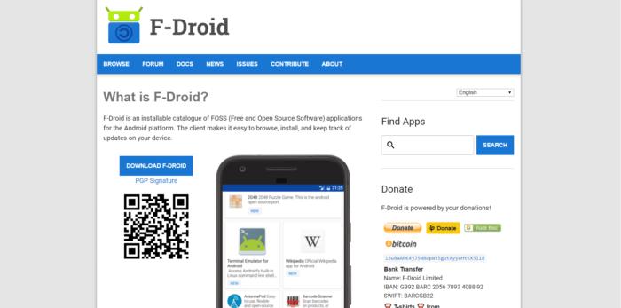 صفحة الويب Fdroid