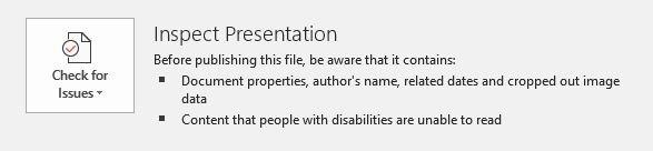 تقليل حجم Powerpoint صورة التعديلات التحقق من القضايا