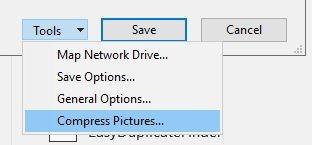 تقليل حجم Powerpoint ضغط جميع الصور القائمة المنسدلة