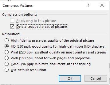 تقليل حجم Powerpoint ضغط جميع خيارات الصور