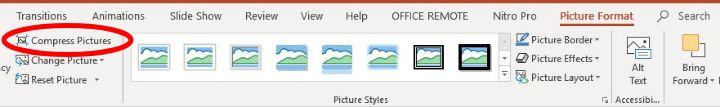 تقليل حجم Powerpoint ضغط تنسيق صورة واحدة