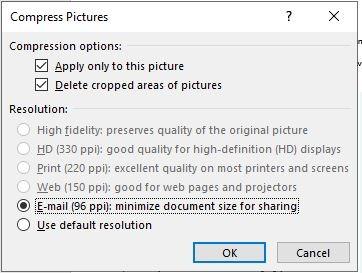 تقليل حجم Powerpoint ضغط صورة واحدة اختر نقطة في البوصة