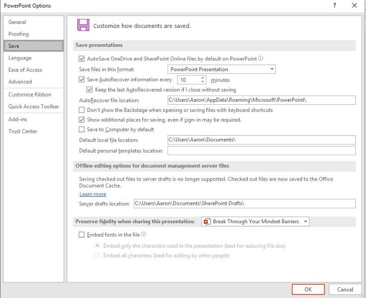 تقليل حجم Powerpoint تضمين الخطوط حفظ علامة التبويب Untick