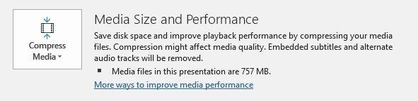 تقليل حجم الخيار Powerpoint ضغط ملفات الوسائط