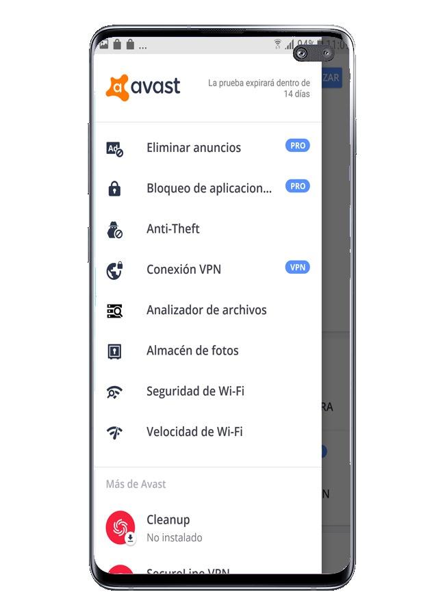 القائمة الجانبية في Avast Free Mobile Security