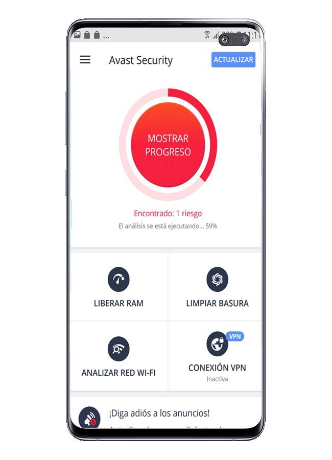 قم بإجراء المسح باستخدام الكشف الأمني باستخدام Avast Free Mobile Security