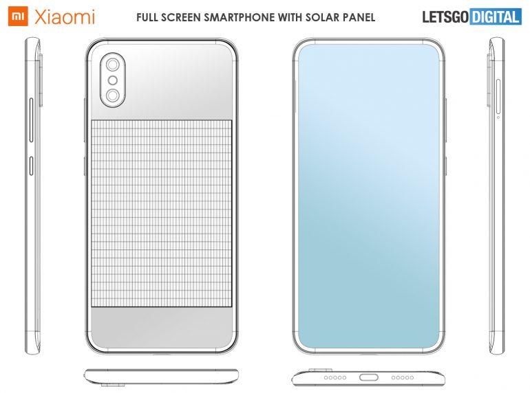 براءات الاختراع Xiaomi الهاتف الذكي مع الشحن بالطاقة الشمسية 1