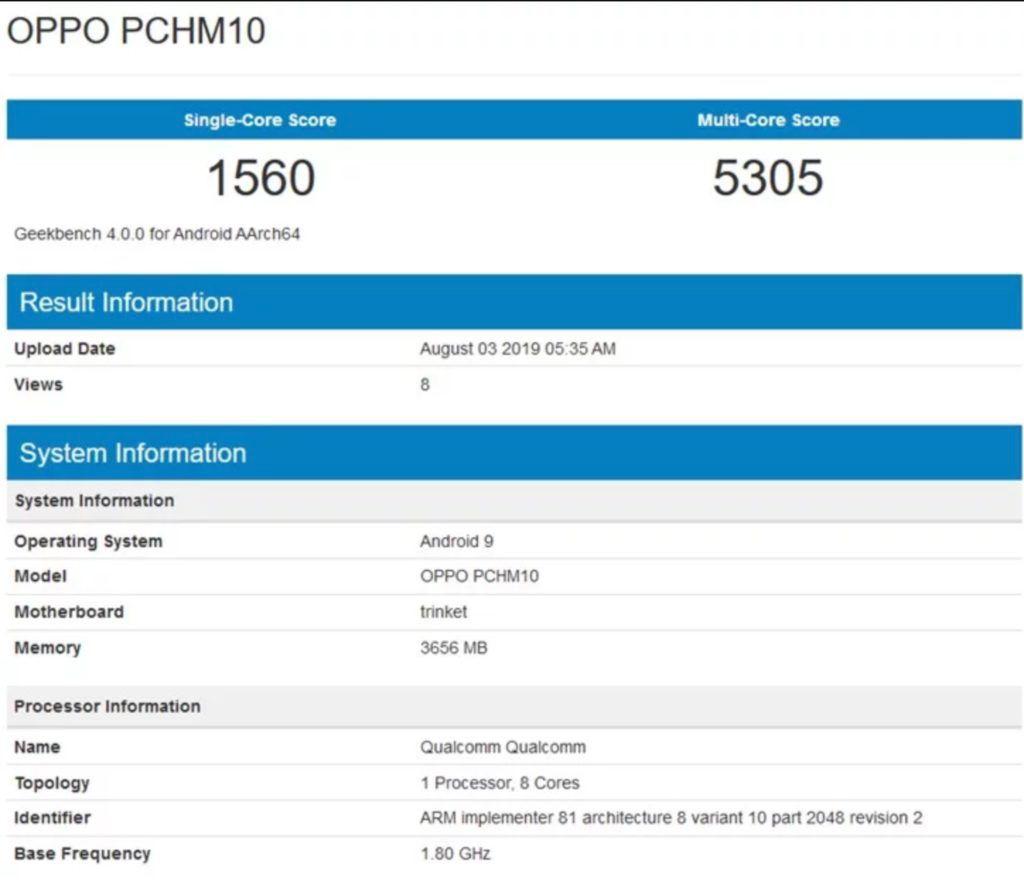 مواصفات OPPO A9s التي تم تسريبها عبر الإنترنت ، وتميل إلى الوصول من خلال وحدة التخزين Snapdragon 665 SoC و 128 جيجابايت 1