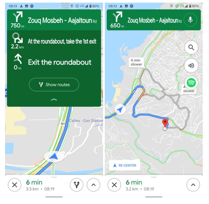 تعمل خرائط Google على تحسين الواجهة باستخدام اتجاهات التنقل الجديدة 1