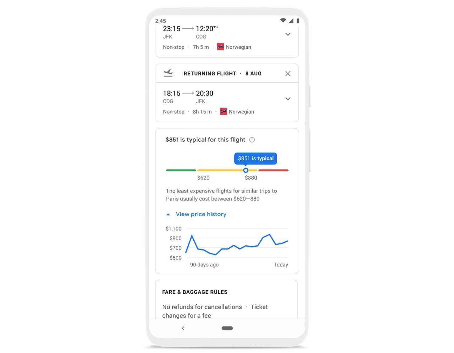 جوجل السفر تتبع سعر الرحلة