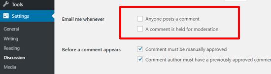 تعطيل رسائل إعلام الإخطار بالتعليق في ووردبريس