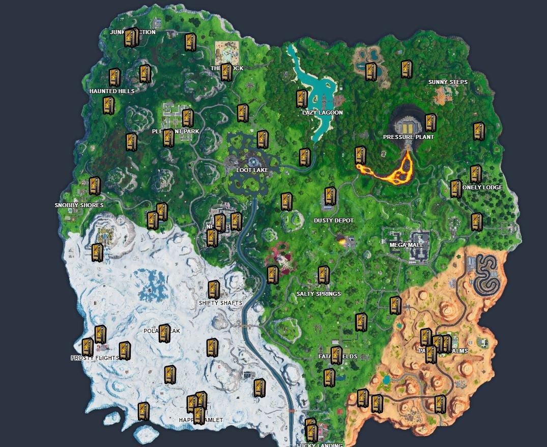 Fortnite  خريطة مواقع آلة البيع