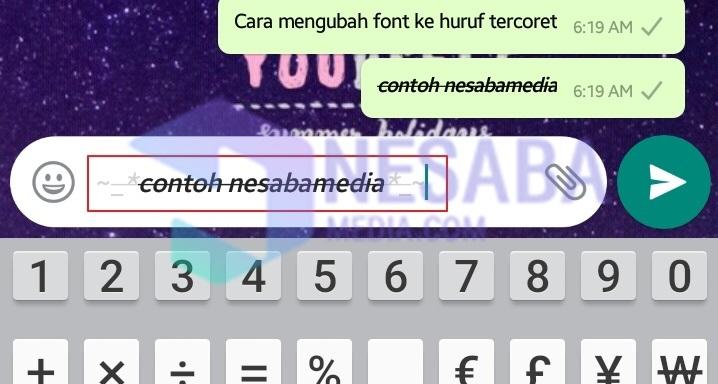 كيفية استبدال الخط whatsapp بخط متقاطع