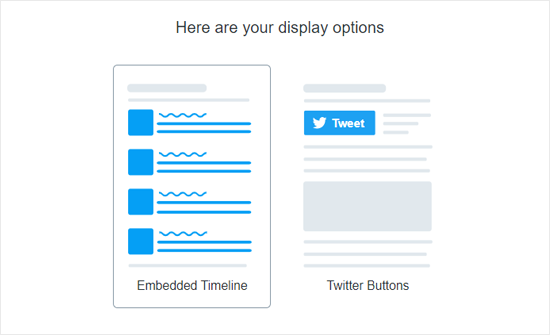 Twitter  نشر خيارات العرض