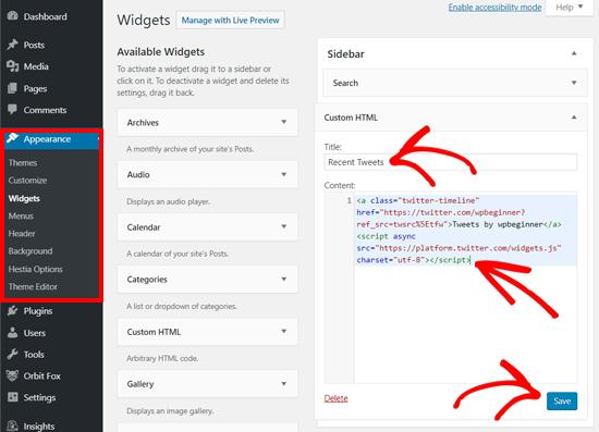 لصق Twitter رمز تضمين ملف التعريف في أداة HTML المخصصة