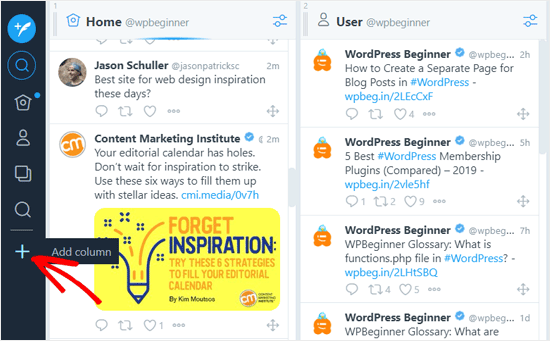 إضافة عمود في تطبيق TweetDeck