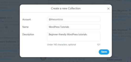 إنشاء مجموعة جديدة في TweetDeck