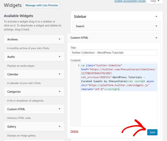 تضمين Twitter جمع مع HTML مخصص القطعة