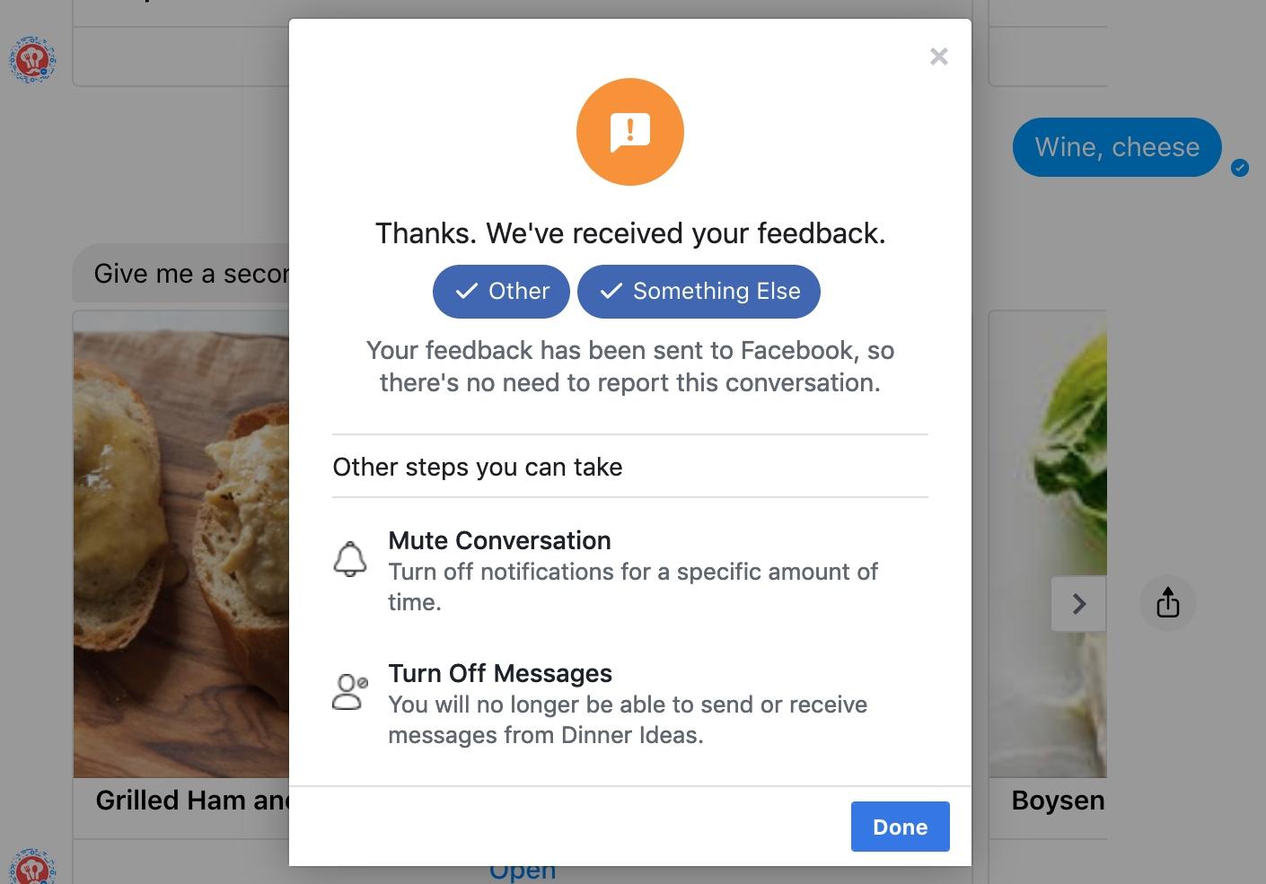 FB Messenger إرسال ملاحظات الويب