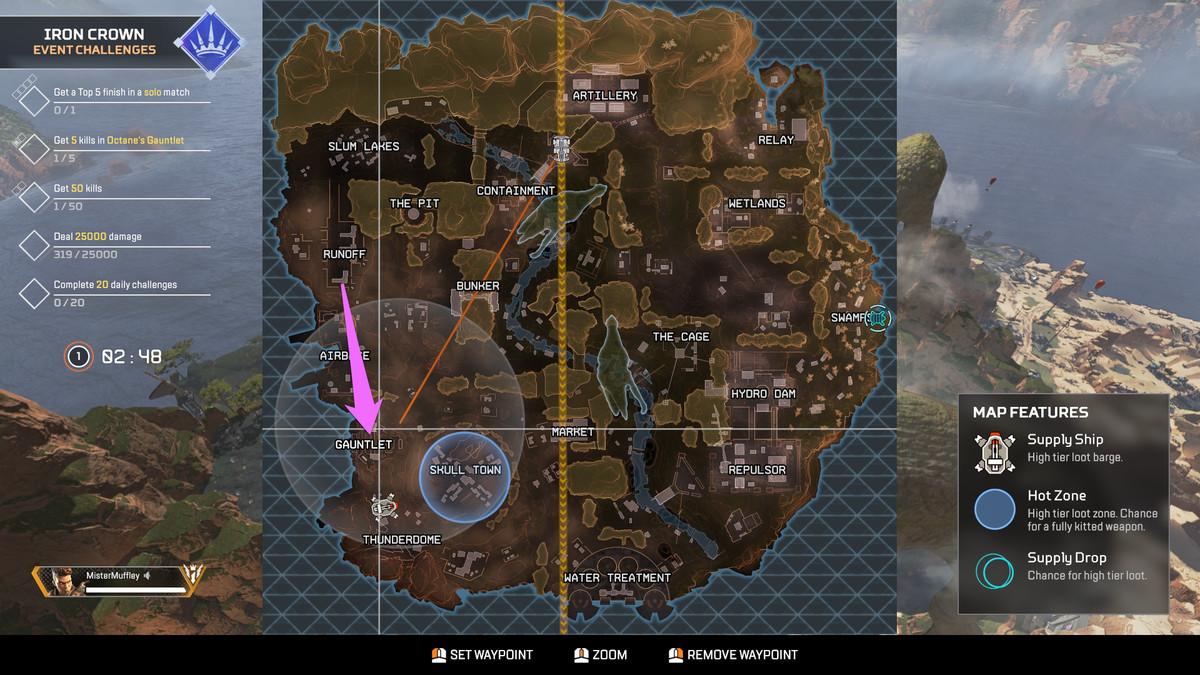 تم تحديث خريطة Apex Legends لحدث Iron Crown مع سهم يشير إلى منطقة Gauntlet على الجانب الجنوبي الغربي من الخريطة.