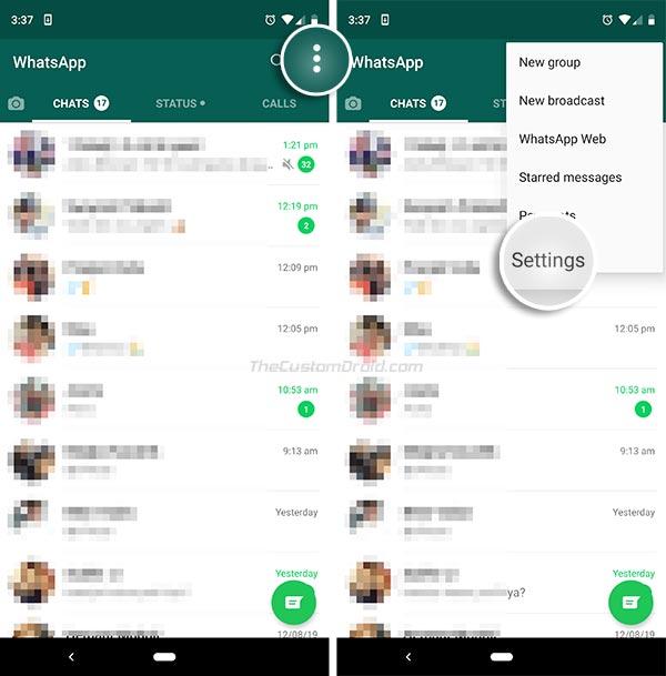 تمكين ميزة قفل بصمة WhatsApp - انتقل إلى الإعدادات