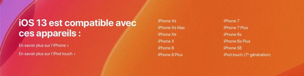 appareils Compatible ios 13 تعليق télécharger et installer la bêta iOS 13 sur son iPhone