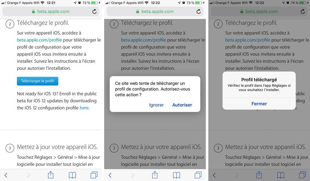 iphone autoriser telecharger profil beta Comment télécharger et installer la bêta iOS 13 sur son iPhone