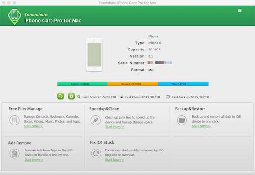 Tenorshare iPhone Care Pro لنظام التشغيل Mac ، وتنظيم وإصلاح وتنظيف اي فون الخاص بك 2