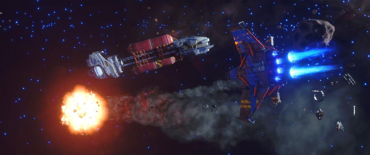 لاعب في سفينة متوسطة المستوى بأربعة أجنحة ، باللون الأحمر والأزرق ، يضيء سفينة عدو في معركة إلى جانب سفينة نقل كبيرة.