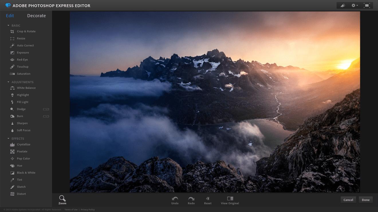 يعد Adobe Photoshop Express من أفضل برامج تحرير الصور