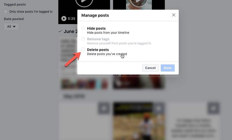 كيفية حذف الشامل Facebook المشاركات في آن واحد 3