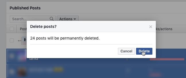 كيفية حذف الشامل Facebook المشاركات في آن واحد 6