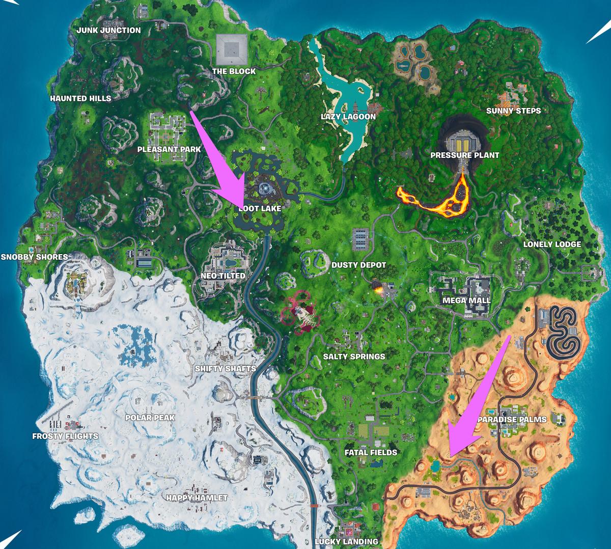 ال Fortnite خريطة بها سهام تشير إلى منطقة داخل بحيرة لوت جنوب وسطها ، ومنطقة جنوب غرب سالتي سبرينغز