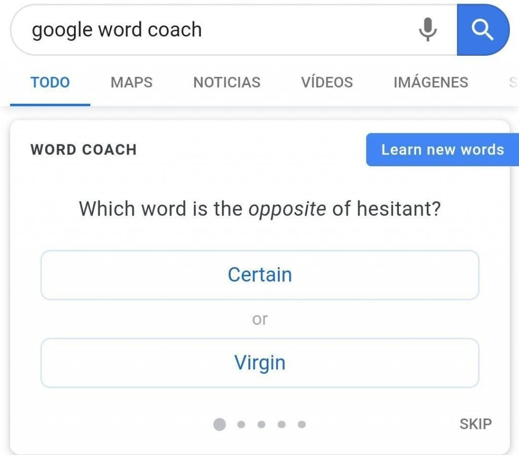 كلمة مدرب جوجل تعلم الانجليزية