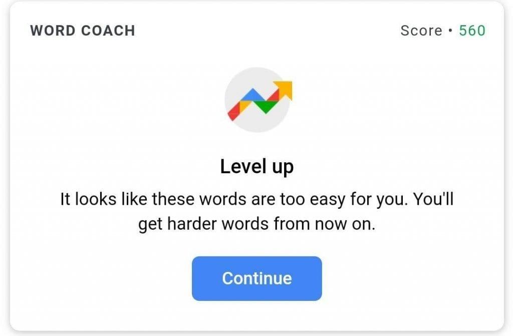 تعلم اللغة الإنجليزية مجانًا مع Google Word Coach ؛ لعبة للجميع 2