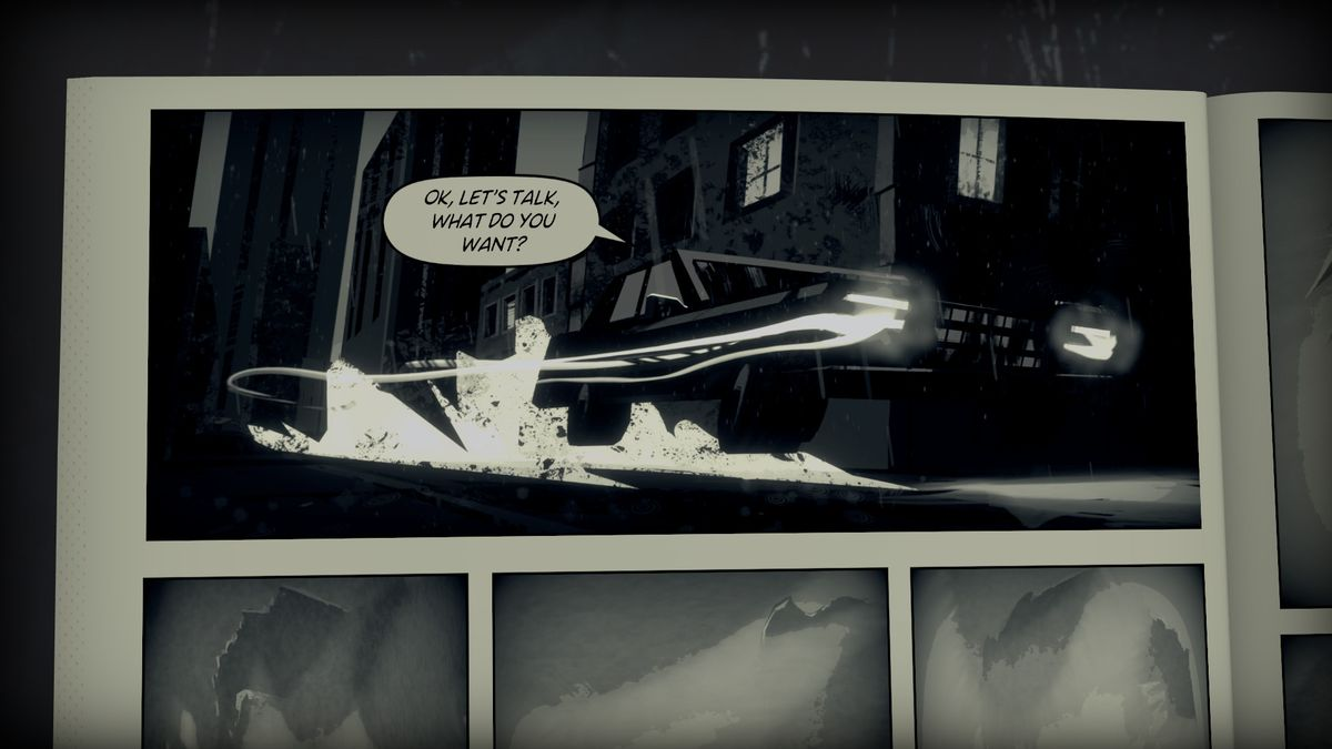 "A cutscene في Liberated ، والذي يتضمن رسوم متحركة ثابتة من صفحات كتاب هزلي. تسرع السيارة في الليل بينما يقول الراكب: ""حسنًا ، دعنا نتحدث ، ماذا تريد؟"""