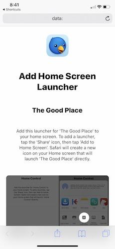 اختصارات Apple الشاشة الرئيسية